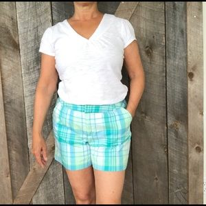 Green plaid shorts
